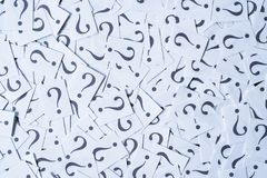 Heap of white paper note with QUESTION MARK as background Royalty Free Stock Image