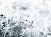 Heap of white shredded papers Stock Images