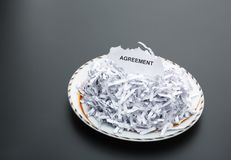 Heap of white shredded papers on the plate Stock Image