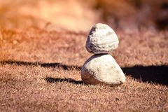 Heap of white stone stack of rock decoration in vertical style composition, copy space. stock images