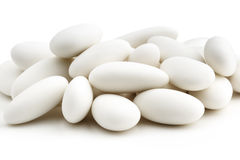 Heap of white sugared almonds Stock Photo