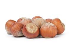 Heap of whole hazelnuts. Isolated on white background Royalty Free Stock Image