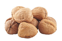 Heap of  whole walnuts Stock Photos