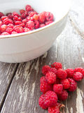 Heap of wild raspberries and a bowl with raspberries on wood boards Royalty Free Stock Photos