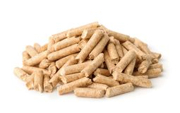 Heap of wood pellets. Isolated on white Stock Photo