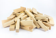 Heap of wooden building blocks. Pile of blank wooden building blocks isolated on grey white background stock photos