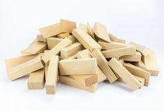 Heap of wooden building blocks Stock Photos