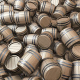 Heap of wooden casks Royalty Free Stock Image