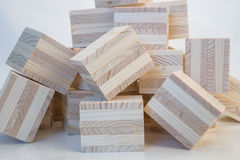 Heap of wooden cubes Royalty Free Stock Images