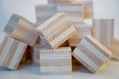 Heap of wooden cubes Stock Image