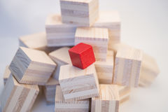 Heap of wooden cubes Stock Photo