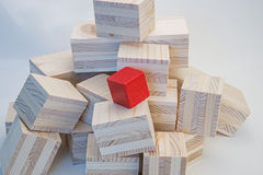 Heap of wooden cubes Stock Photo