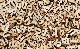 Heap of wooden english letters stock image