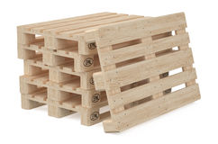 Heap of wooden eur pallets. Isolated on white background Stock Photo