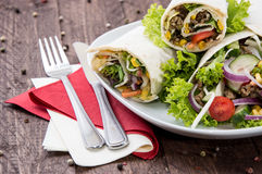 Heap of Wraps on a plate Stock Photography