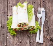 Heap of Wraps on wood Stock Photography