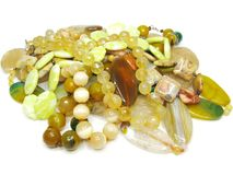 Heap of yellow colored beads Stock Photo