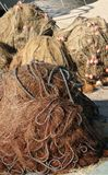 Heaped fishing nets Stock Images
