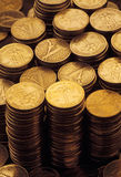 Heaped of gold coins. Pilling up Royalty Free Stock Photos