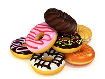 Heaping of donuts 3D rendering Stock Images