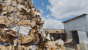 Heaps of cardboard at industrial landfill, ecology concept Royalty Free Stock Image