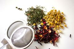 Heaps Of Herbal Teas And Infuser Royalty Free Stock Images
