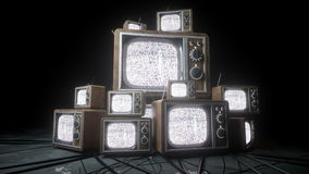 Heaps of retro, antique tv in dark room. Noise tv. Realistic 4k animation. stock video