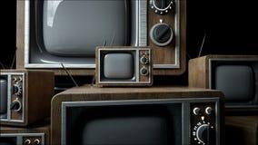 Heaps of retro, antique tv in dark room. Realistic 4k animation. stock video