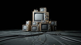 Heaps of retro, antique tv in dark room. Realistic 4k animation. stock video
