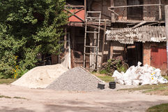 Heaps of sand and gravel Stock Photo