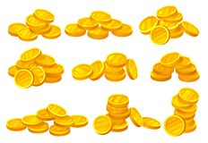Heaps of shiny golden coins. Money or financial theme. Elements for mobile game, promo poster or banking website. Flat royalty free illustration