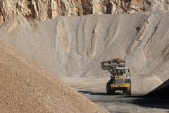 Heaps of stone aggregate for road construction Stock Image