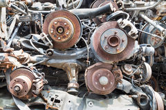 Heaps of used old auto disk and drum brake parts Stock Photography