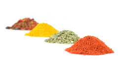 Heaps of various ground spices Royalty Free Stock Photography