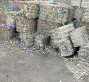 Heaps of waste paper in the paper mill for the production of rec Stock Image