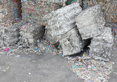 Heaps of waste paper in the paper mill for the production of rec Stock Photos