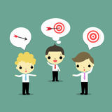 Hear for create. One man with target, one man with arrow and one man with how to cath goal Stock Image
