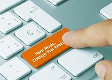 Hear Music, Change Your Brain - Inscription on Orange Keyboard Key