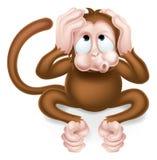 Hear no Evil Cartoon Wise Monkey. Haer no evil cartoon wise monkey covering his ears Stock Photos