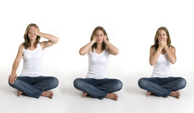 Hear no evil, see no evil, speak no evil Royalty Free Stock Photo