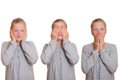 Hear no evil - see no evil - speak no evil Stock Photo