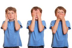 Hear no evil - see no evil - speak no evil Stock Photos