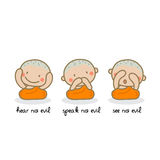 Hear no evil speak no evil see no evil. Stock Photography