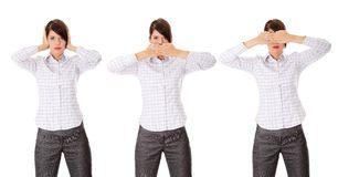 Hear no See no Speak no evil. Stock Images