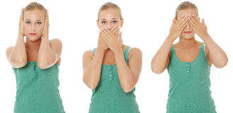 Hear no See no Speak no evil. Stock Image
