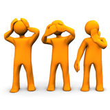 Hear, See And Say Nothing. Orange cartoon characters hears, sees and says nothing Stock Photos