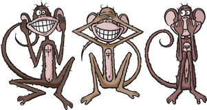 Hear, see and speak no evil. Three happy monkeys demonstrating that old saying. As always, thank you for your time Stock Photo