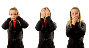 Hear, see and speak no evil Stock Photography