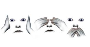 Hear, see, speak no evil. Abstract faces replicating the three monkey scenario. Digital illustration on white background for metaphorical, conceptual use Royalty Free Stock Photos