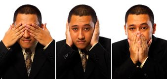 Hear, See, Speak No Evil Businessman. Isolated on white background Stock Photos